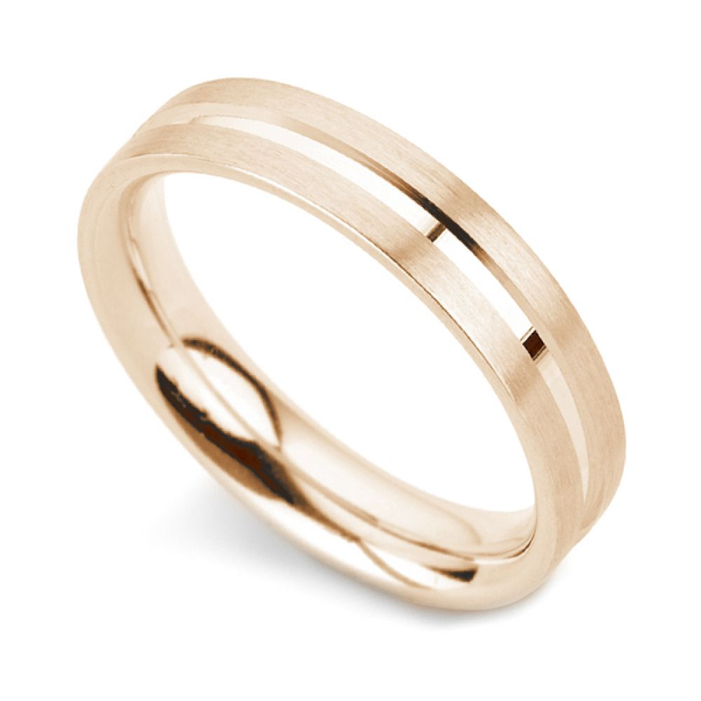 Patterned flat court wedding ring with line detail in rose gold