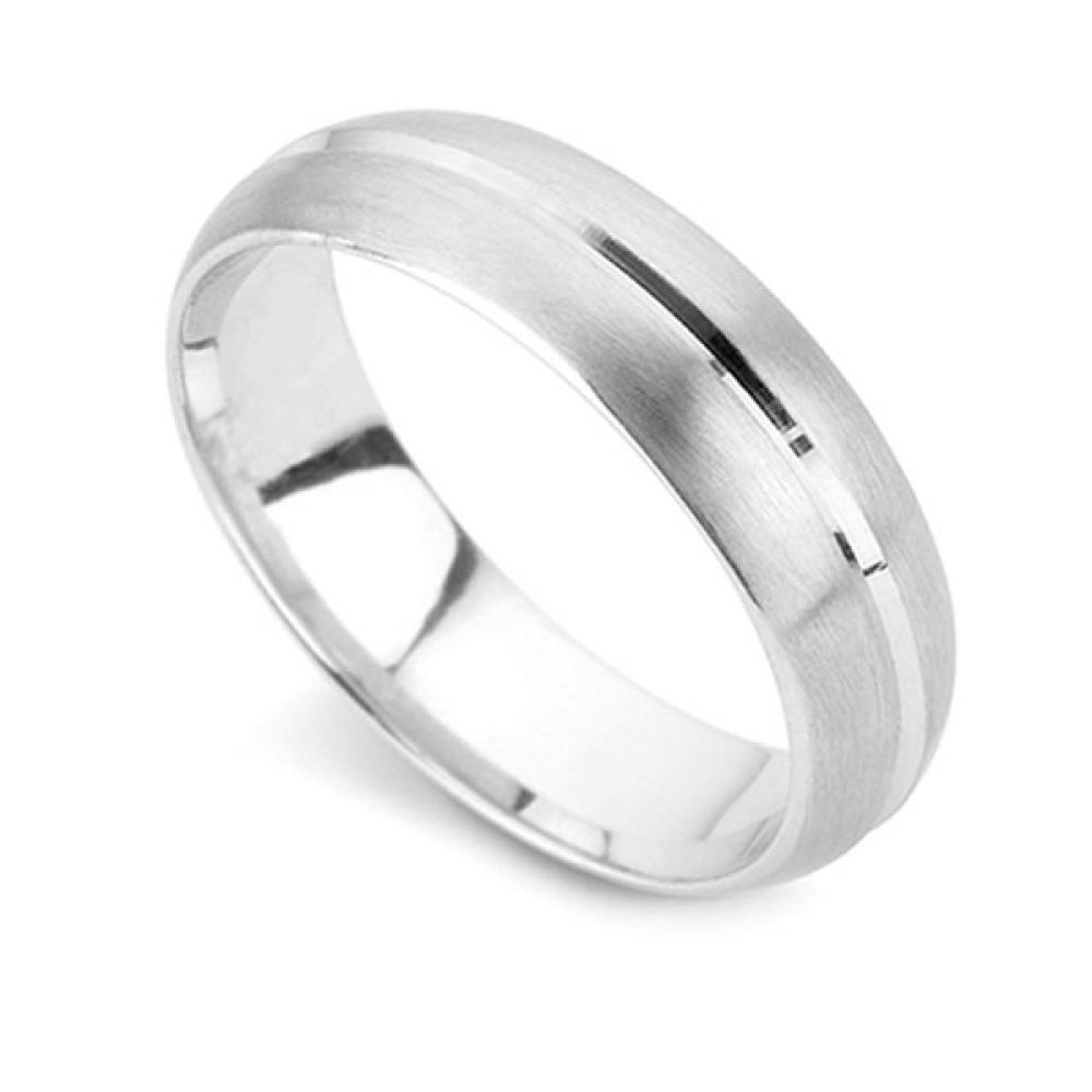 Satin Finish D Shape Wedding Ring with Channel - White