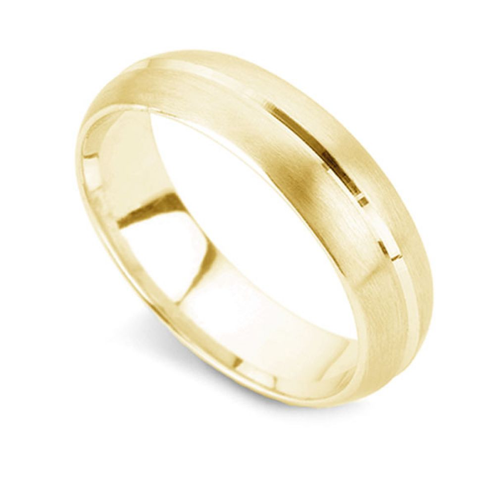 Satin Finish D Shape Wedding Ring with Channel In Yellow Gold