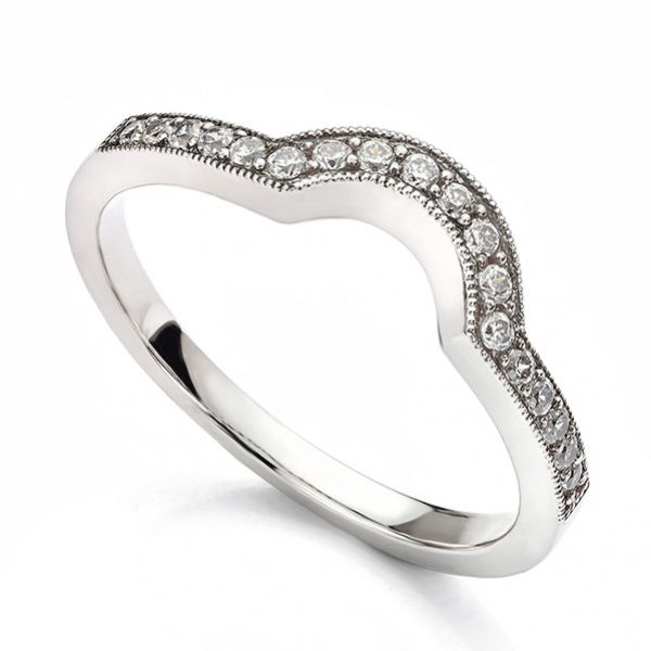 Rwd020 Vintage Horseshoe Diamond Wedding Ring
