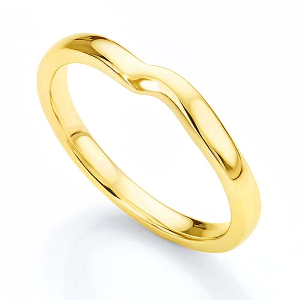 Shaped wedding ring for twist engagement ring yellow gold