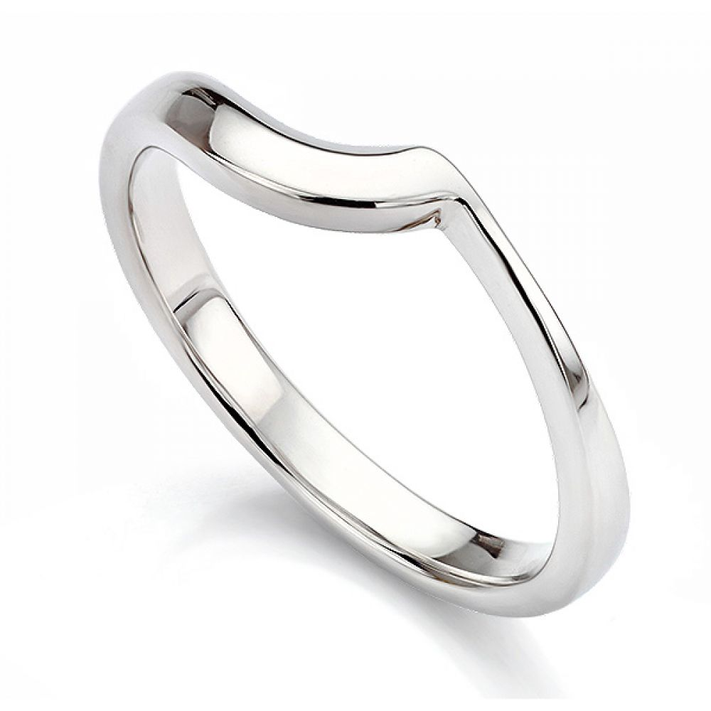 Shaped wedding ring for bezel engagement ring