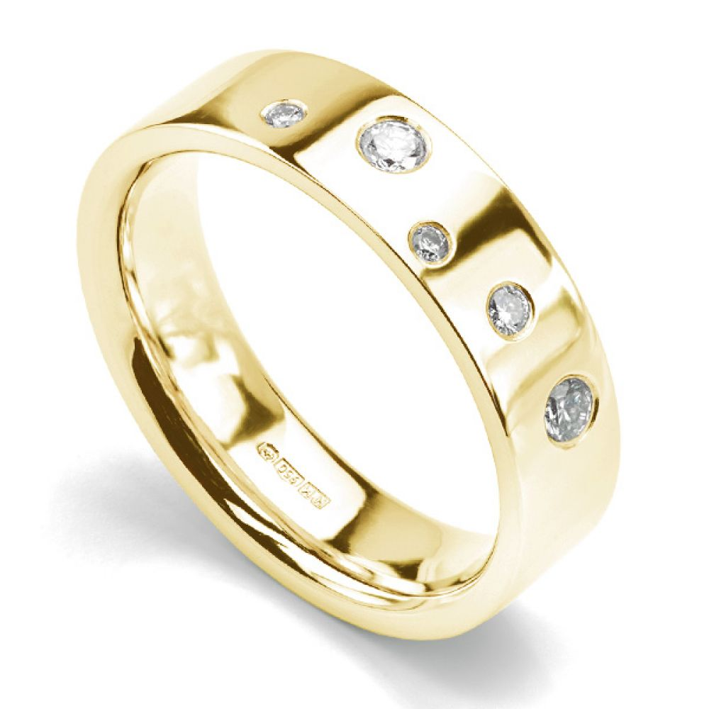 Diamond scatter ring 5mm wide Yellow Gold