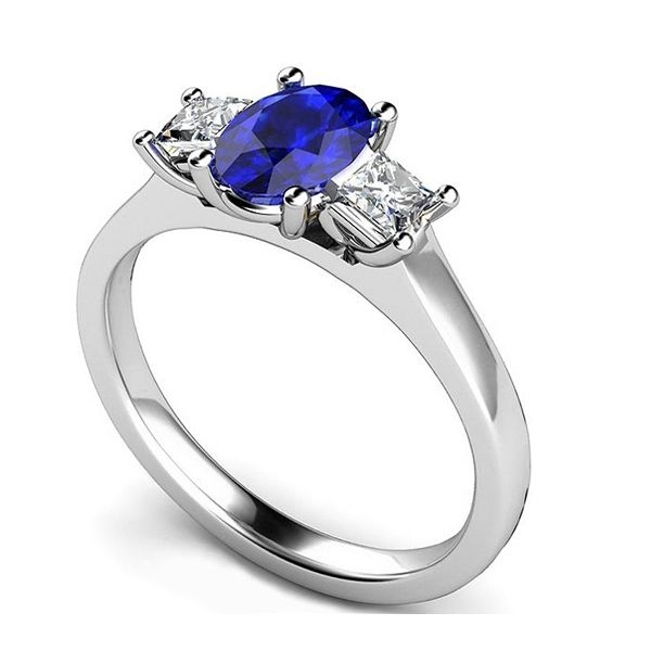 3 Stone Oval Blue Sapphire & Princess Diamond Ring Main Image