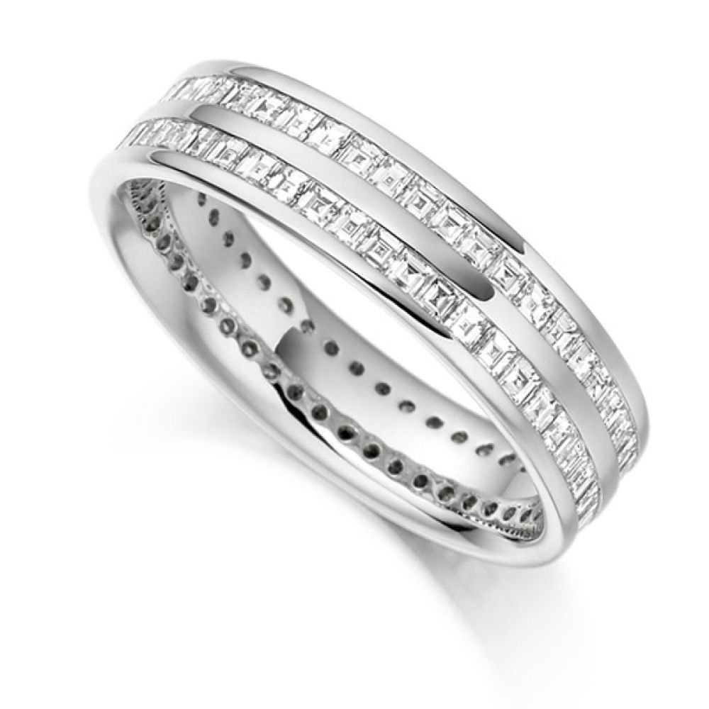 1.5 ct 2 Row Carré Cut Full Diamond Eternity Ring