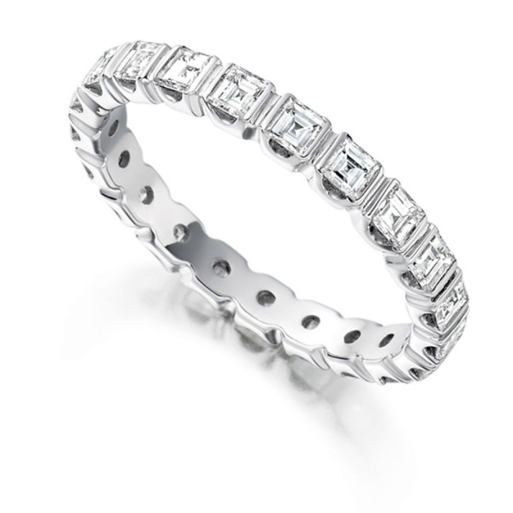 1.5 Carat Bar Set Carré Cut Full Diamond Eternity Ring