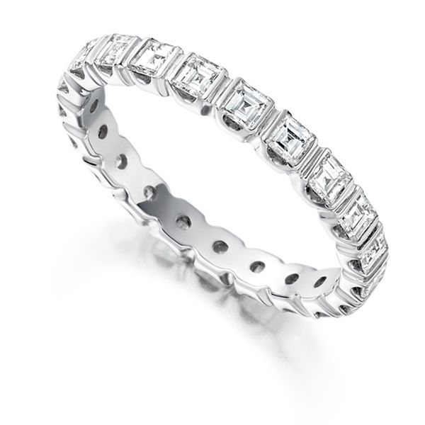 1.5 Carat Bar Set Carré Cut Full Diamond Eternity Ring Main Image