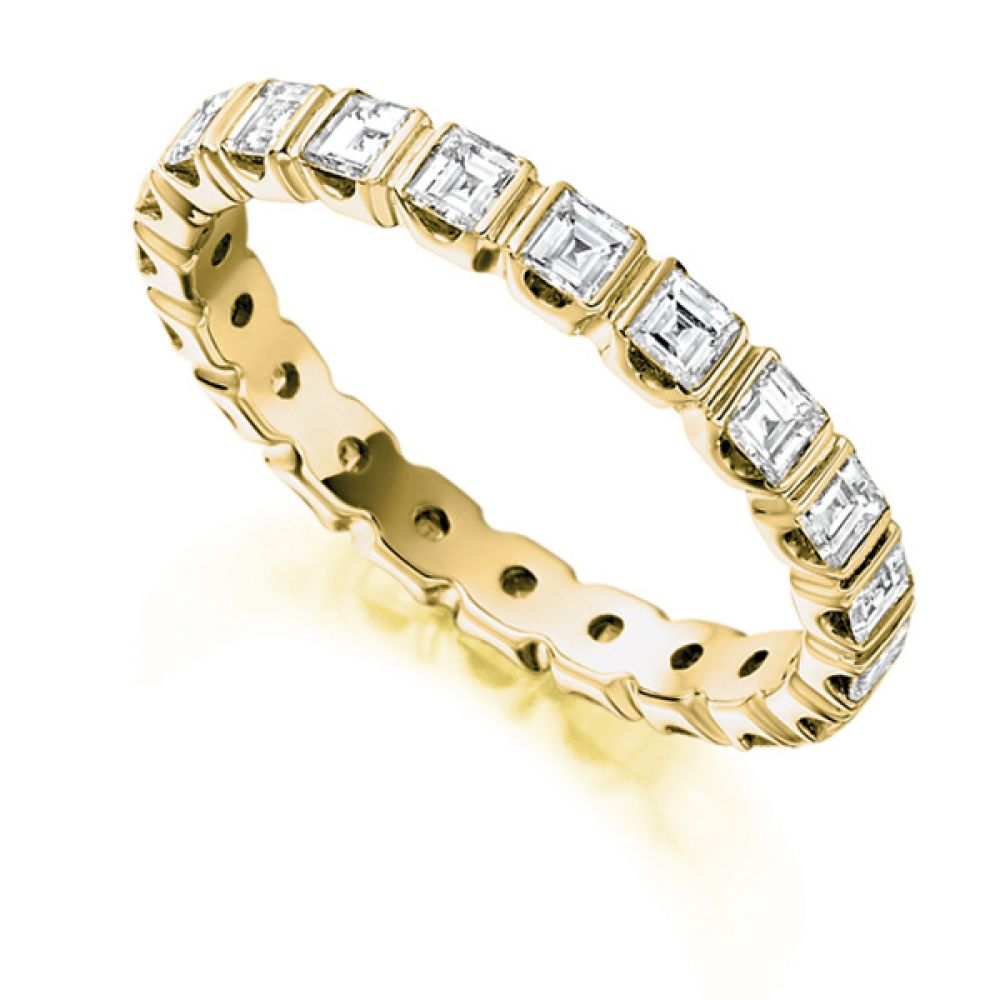 1.5 Carat Bar Set Carré Cut Full Diamond Eternity Ring In Yellow Gold