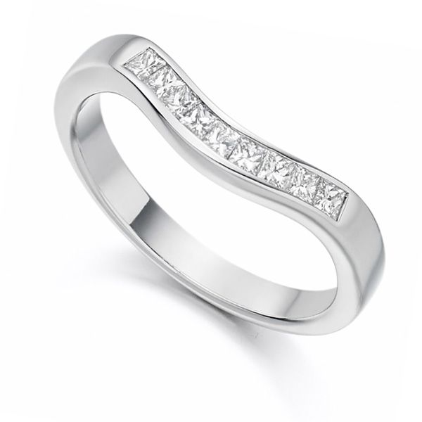 0.35cts Princess Cut Shaped Diamond Wedding Ring Main Image