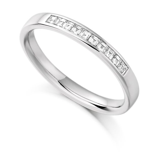 0.25cts Carré Cut Diamond Half Eternity Ring Main Image