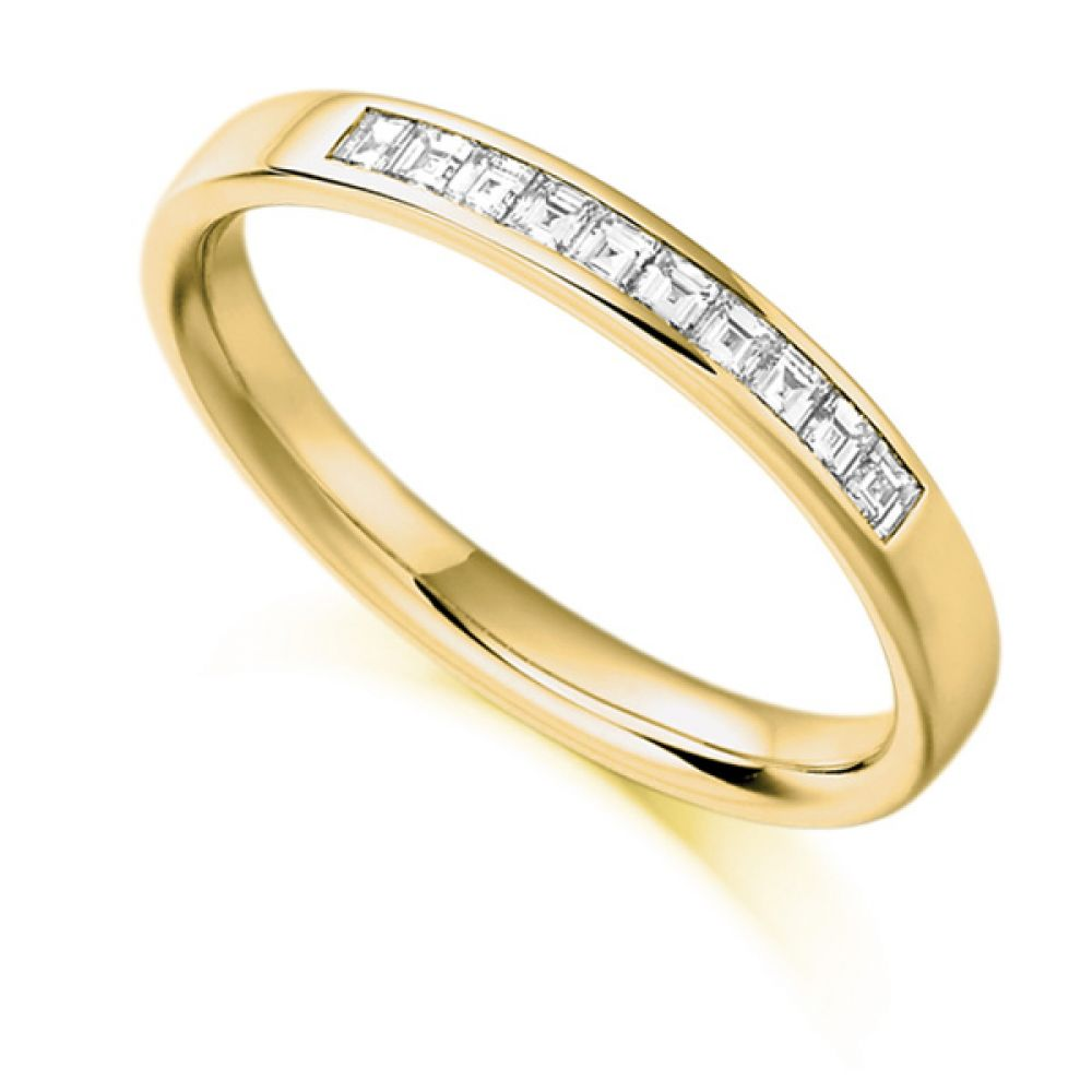 0.25cts Carré Cut Diamond Half Eternity Ring In Yellow Gold