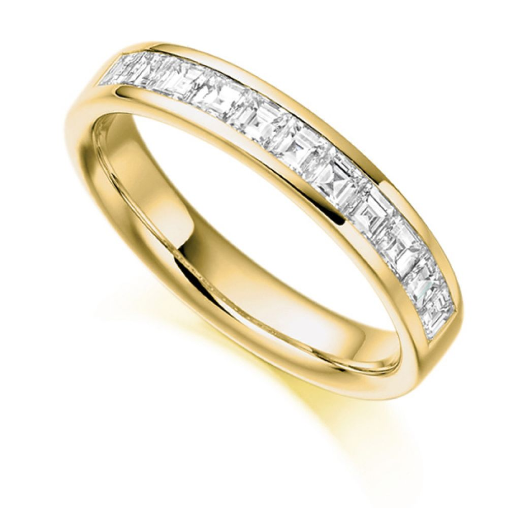 0.75cts Carré Cut Diamond Half Eternity Ring In Yellow Gold