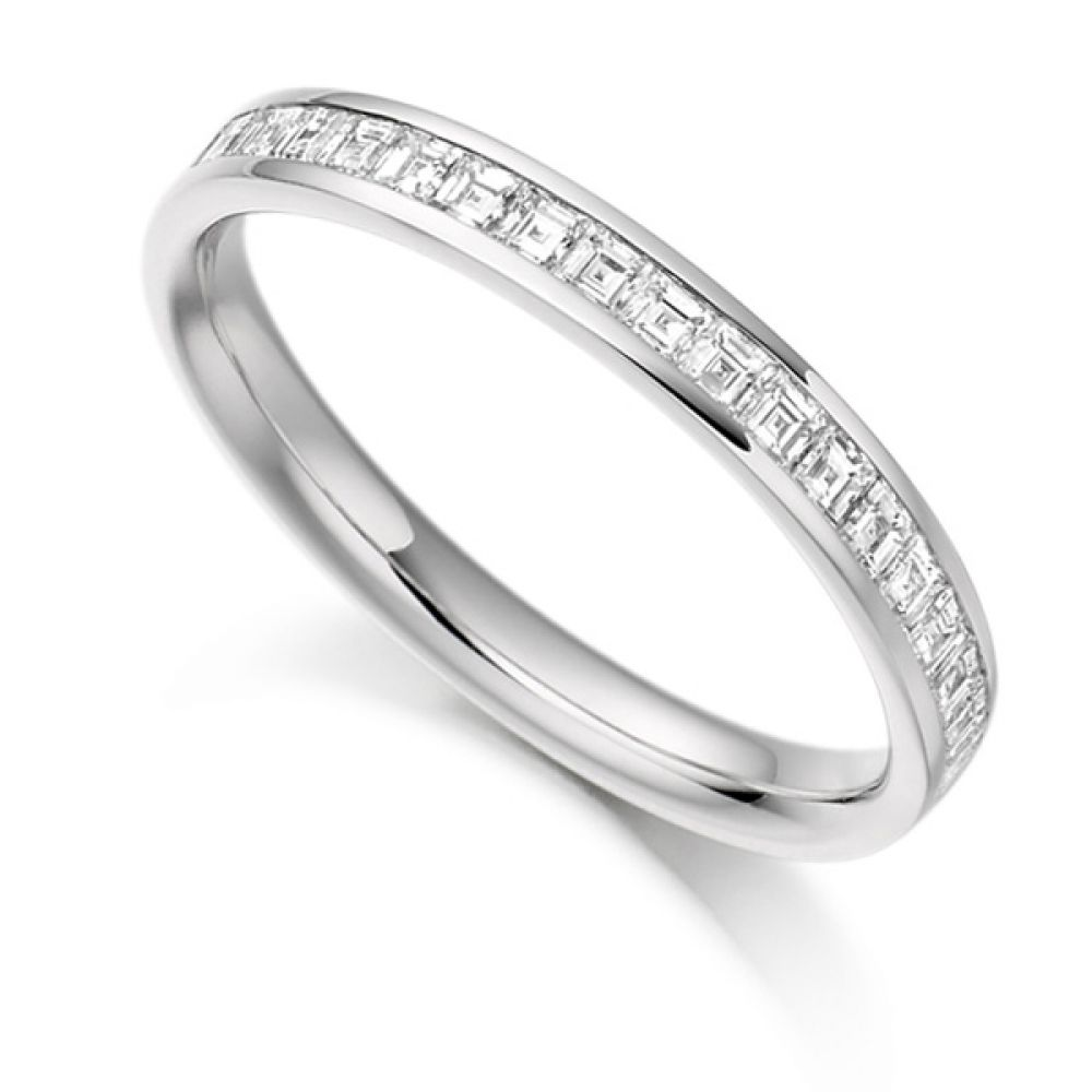 0.50cts Carré Cut Diamond Half Eternity Ring