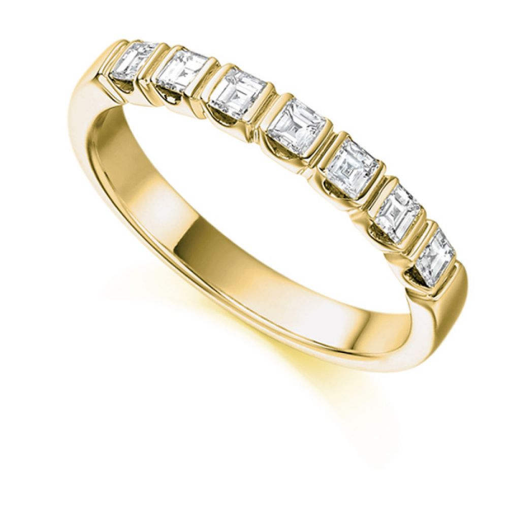 0.50cts Carre Cut Bar Set Diamond Half Eternity Ring In Yellow Gold