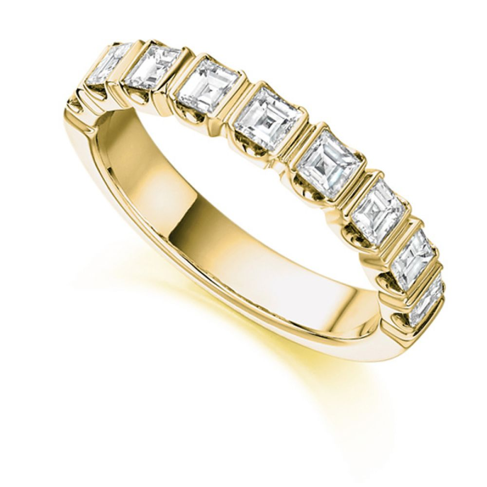 1 Carat Bar Set Square Diamond Half Eternity Ring In Yellow Gold
