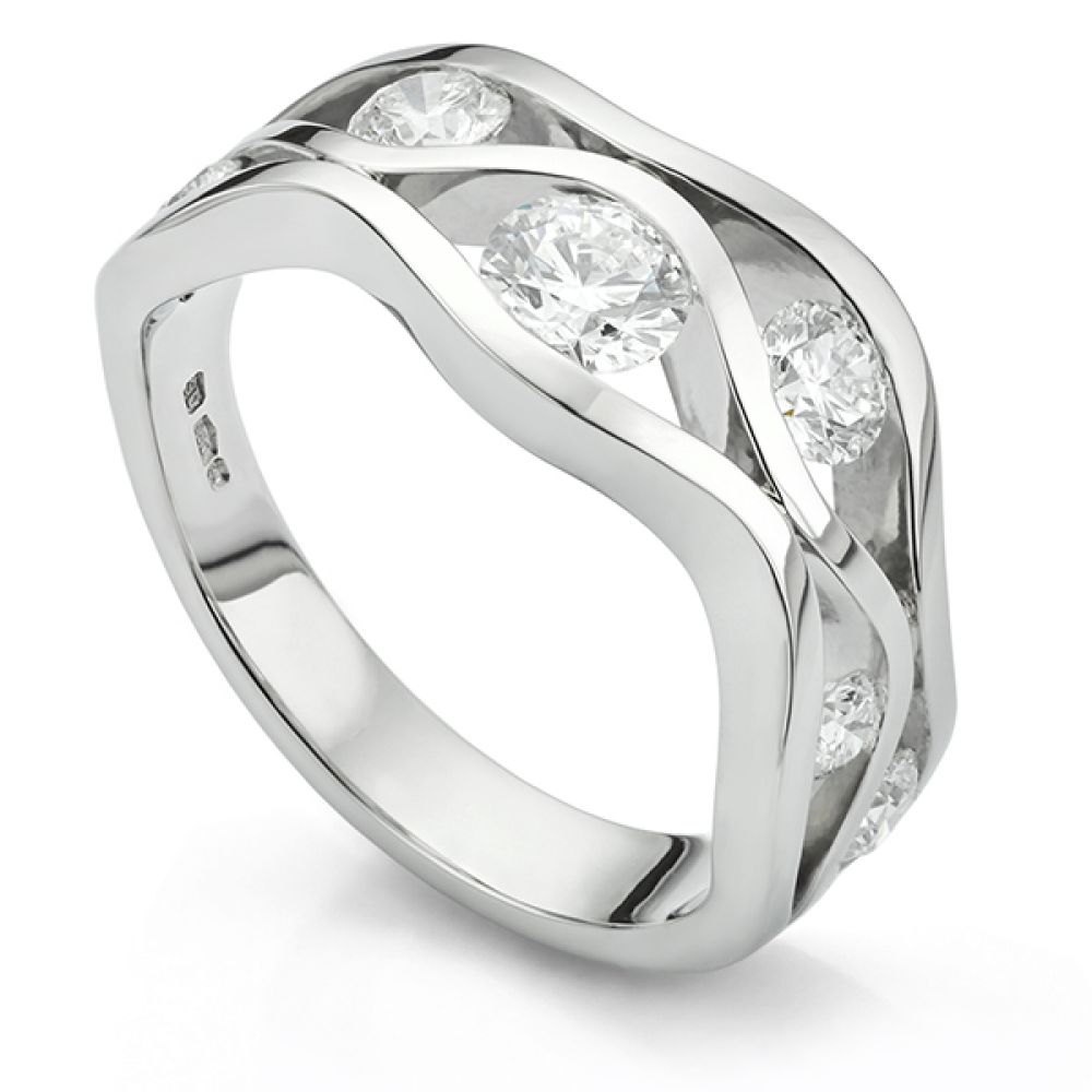 Platinum wave ring set with diamonds
