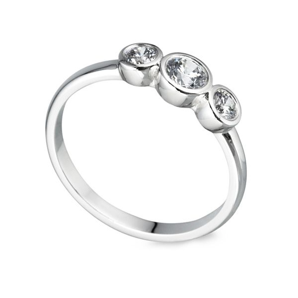 Graduated Full Bezel Set 3 Stone Ring Main Image