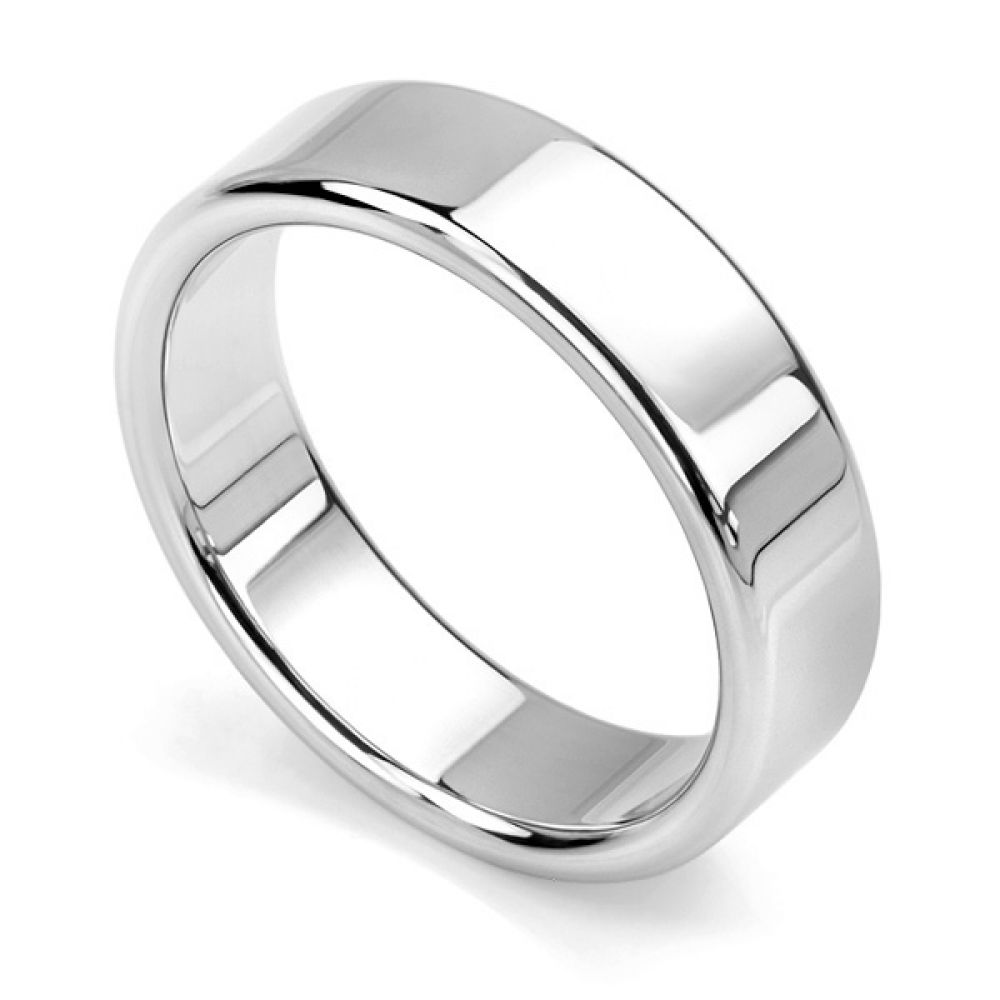 Rounded flat wedding ring white gold 6mm wide