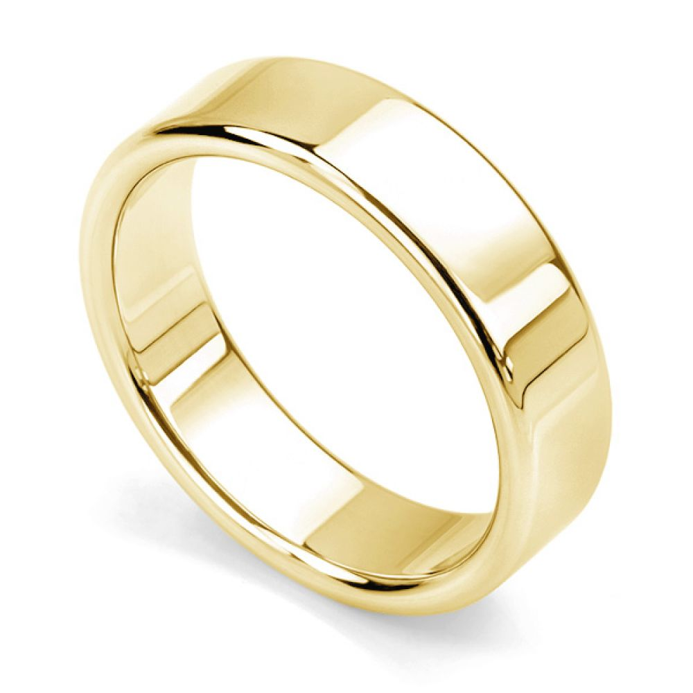 Rounded flat wedding ring yellow gold 6mm wide