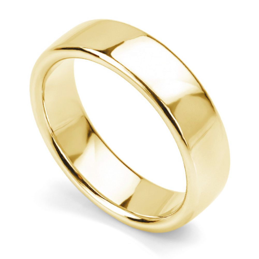 Heavyweight Court Wedding Ring Yellow Gold 6mm