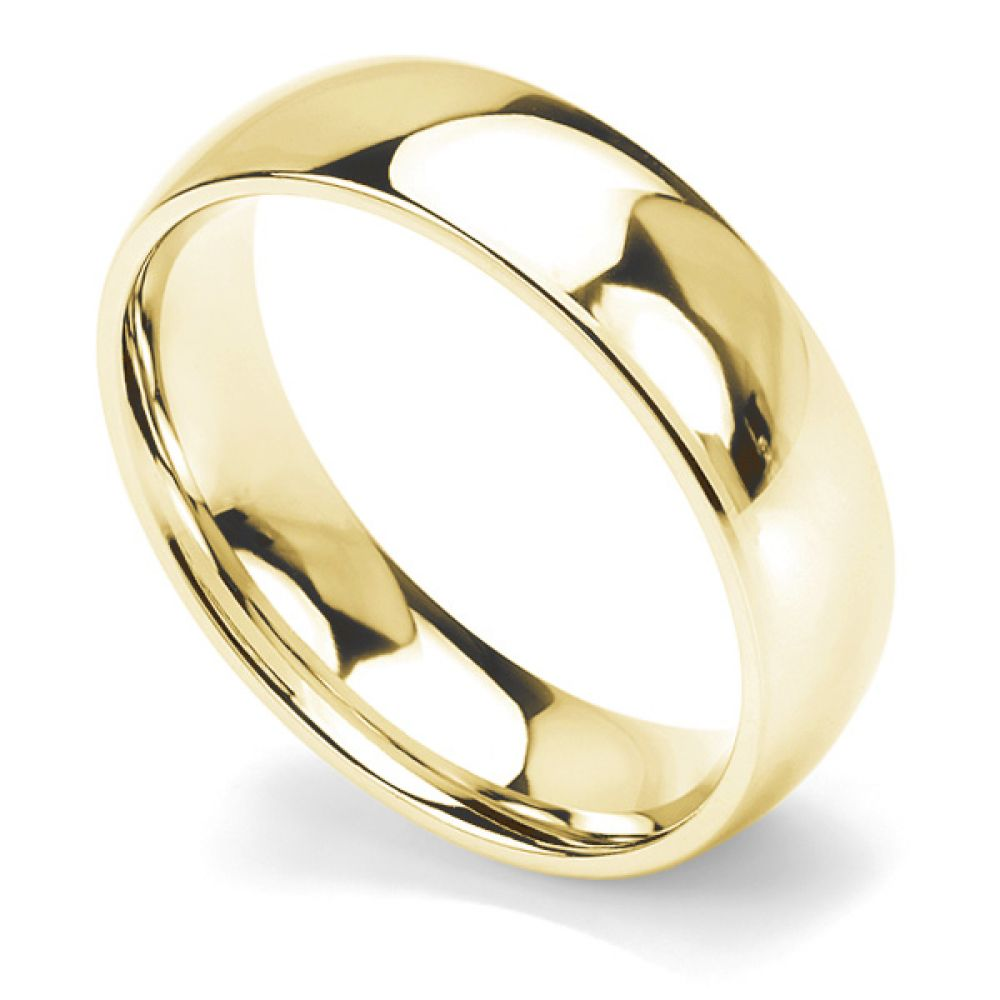Traditional court wedding ring heavy weight 6mm width yellow gold