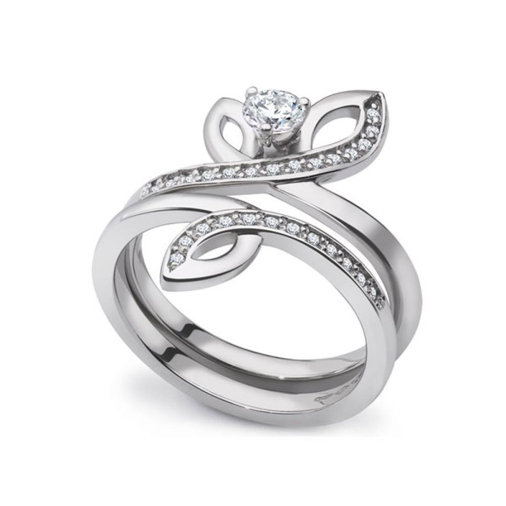 Unique 2 Part Engagement & Wedding Ring Set