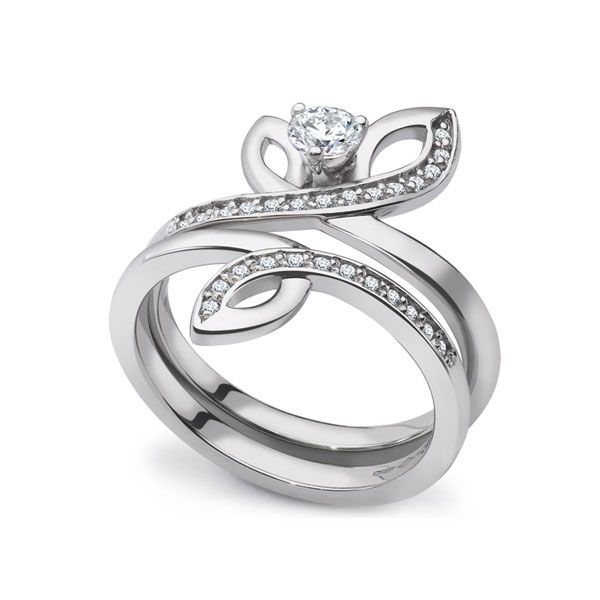 Unique 2 Part Engagement & Wedding Ring Set Main Image