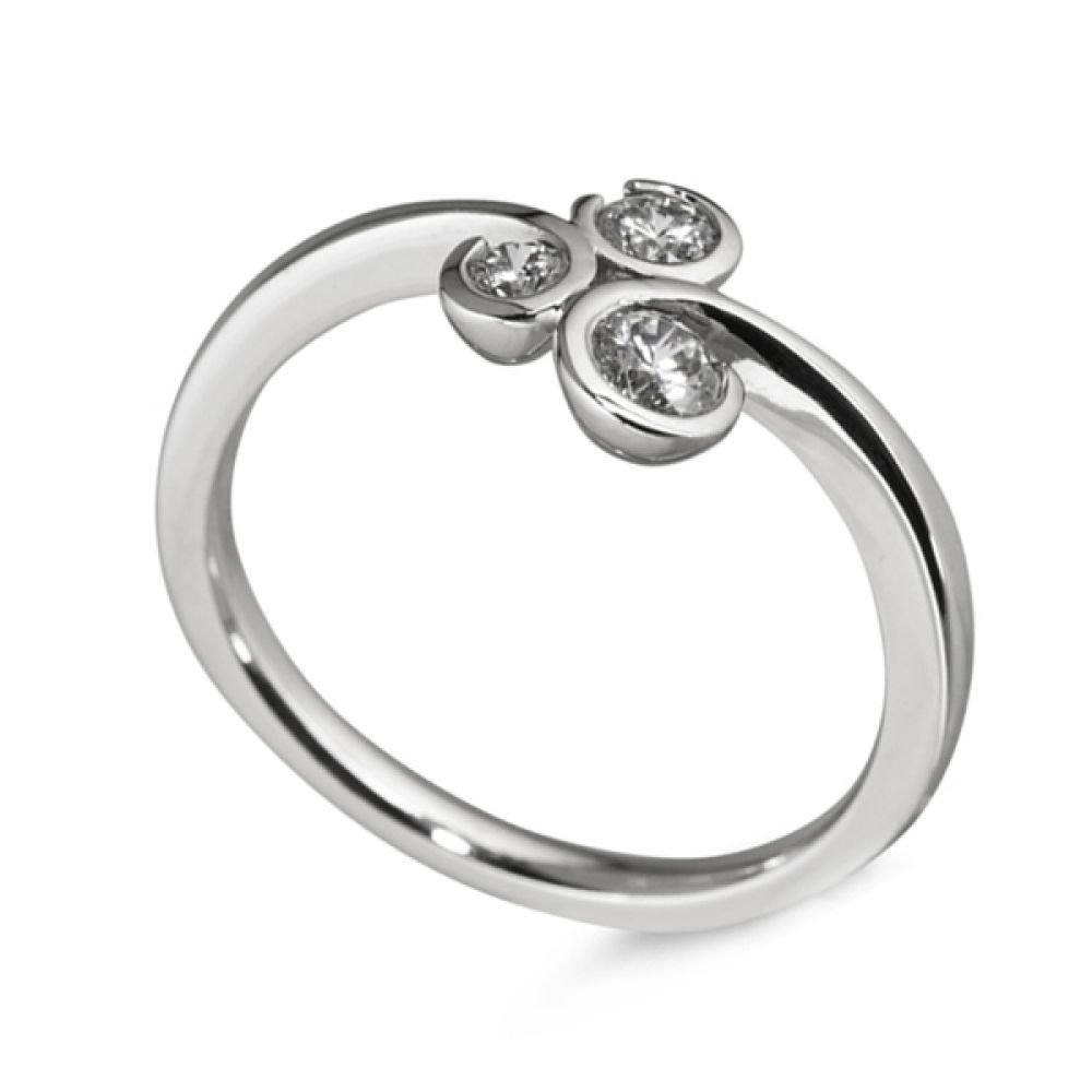 3 Stone Diamond Ring Curled Bezel Setting - White