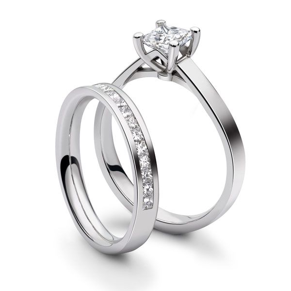 Platinum 4 Claw Princess Ring with Cathedral Setting Main Image