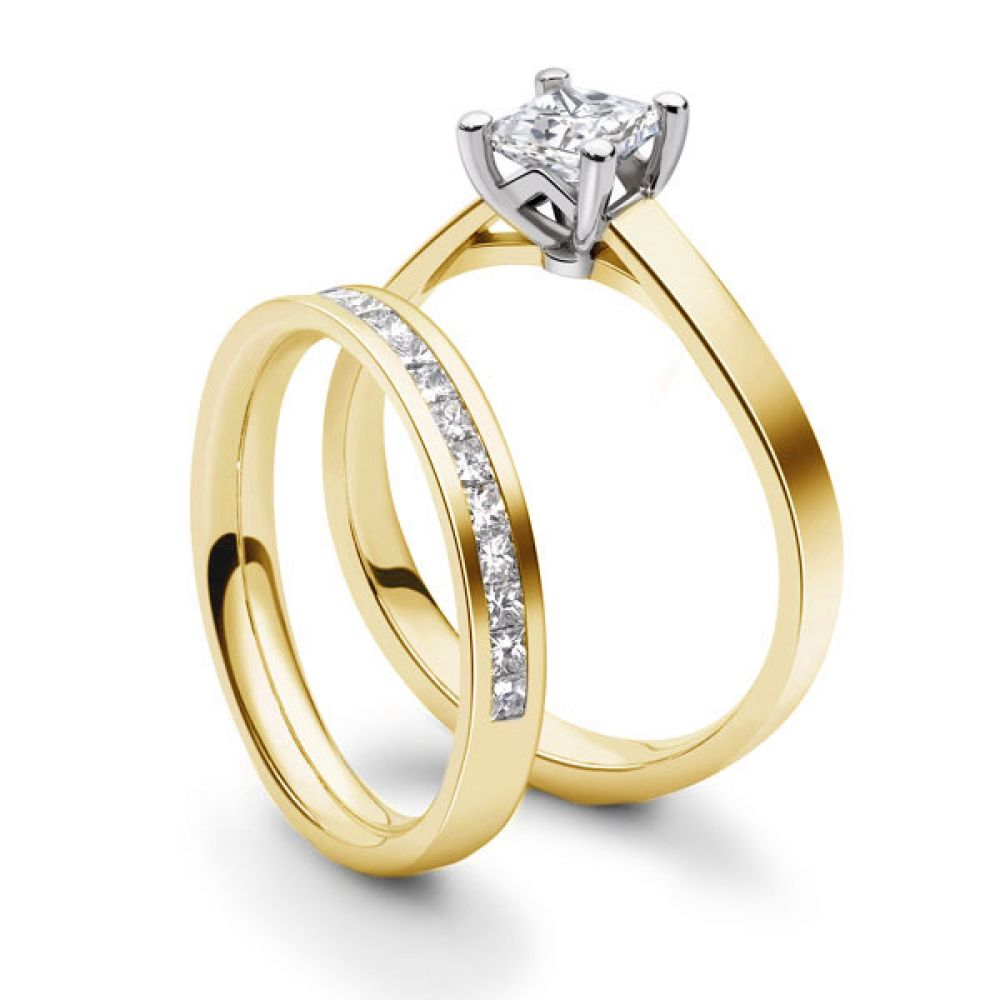 Platinum 4 Claw Princess Ring with Cathedral Setting - Yellow