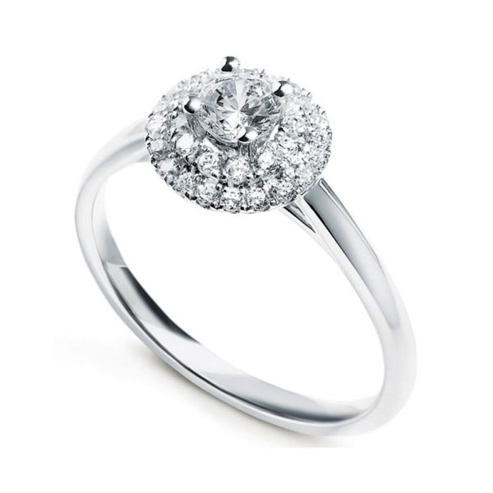 4 Claw Diamond Ring with Tiered Twin Diamond Halo