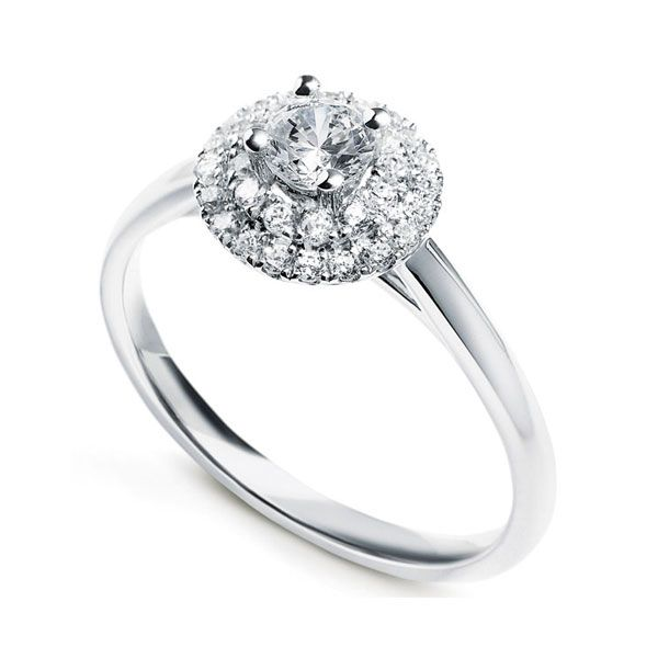 4 Claw Diamond Ring with Tiered Twin Diamond Halo Main Image