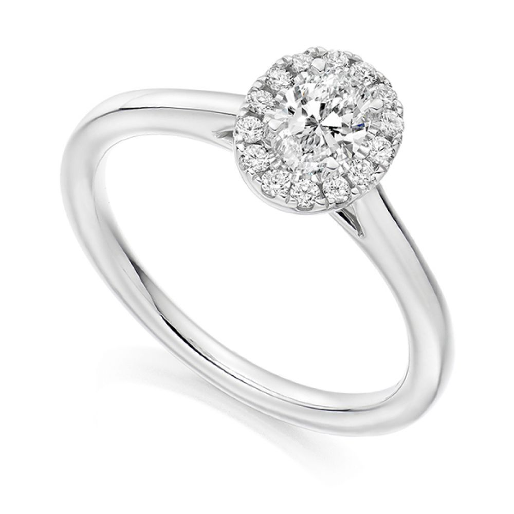 Oval Halo Ring with Plain Shoulders