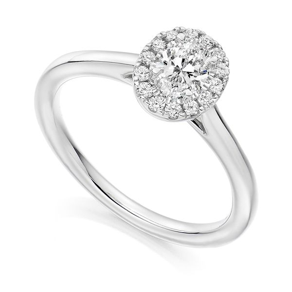 Oval Diamond Halo Ring with Plain Shoulders Main Image