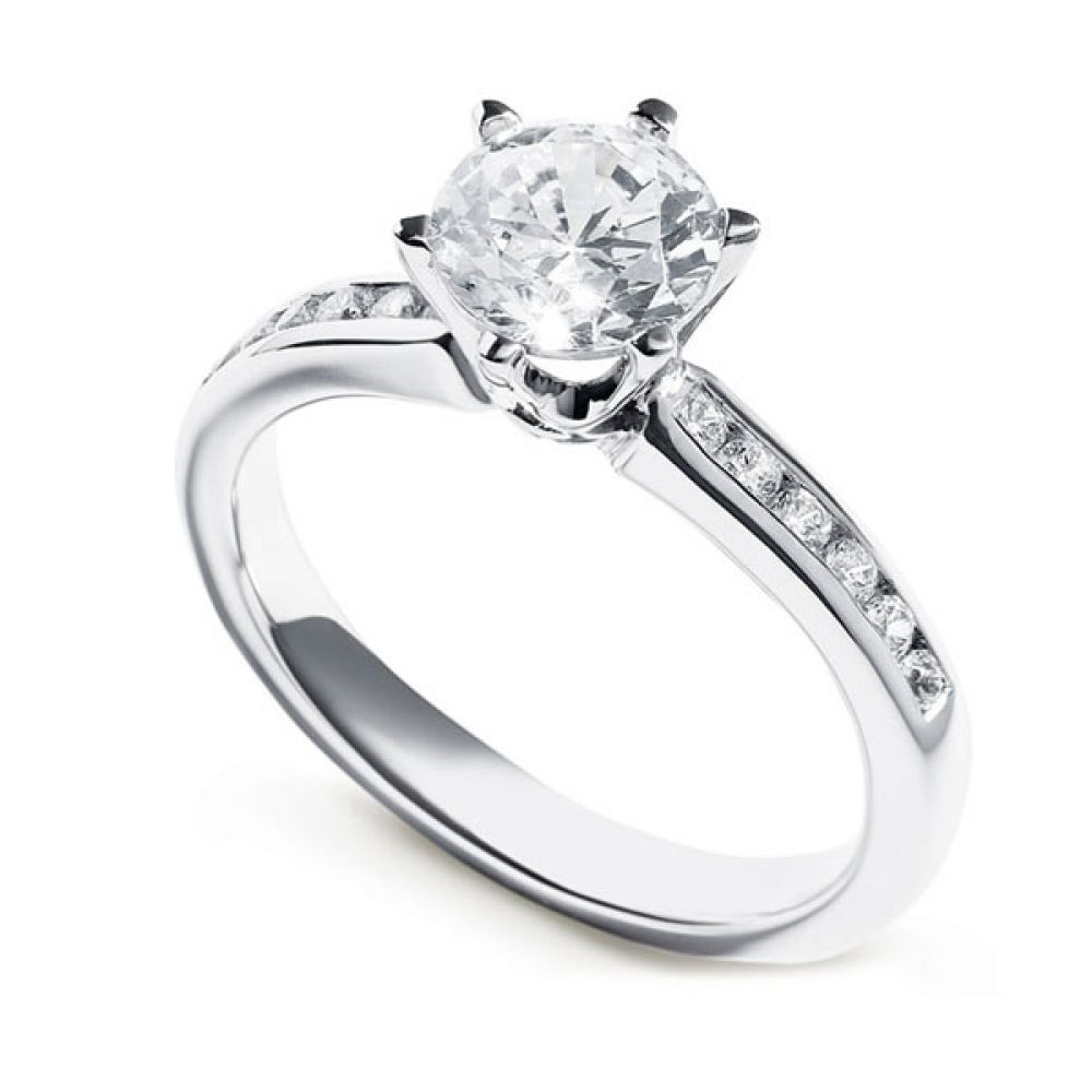 Tiffany Style 6 Claw Solitaire Ring with Diamond Shoulders