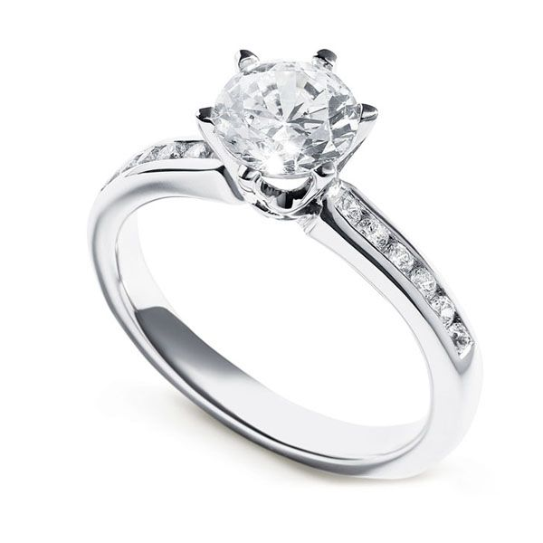 Tiffany Style 6 Claw Solitaire Ring with Diamond Shoulders Main Image