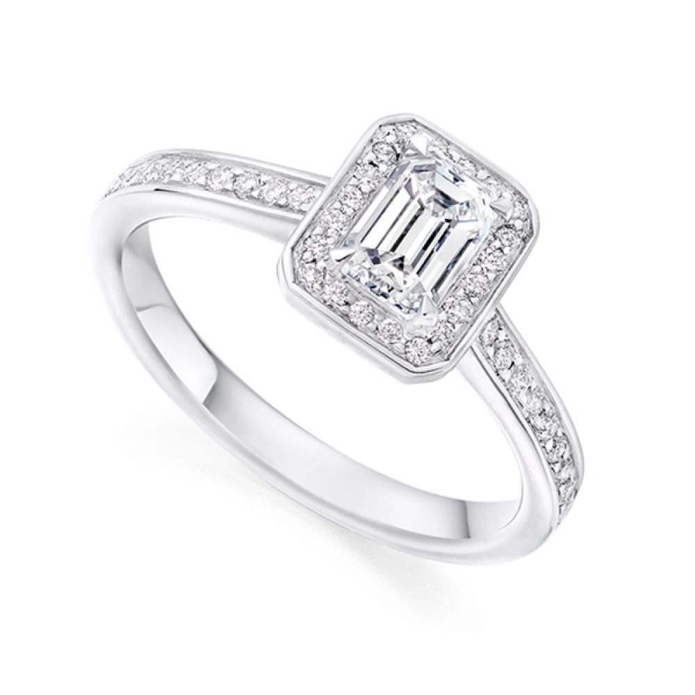 Legacy Inspired Emerald Cut Diamond Halo Ring