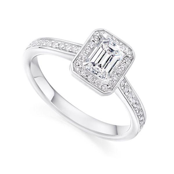 Legacy Inspired Emerald Cut Diamond Halo Ring Main Image