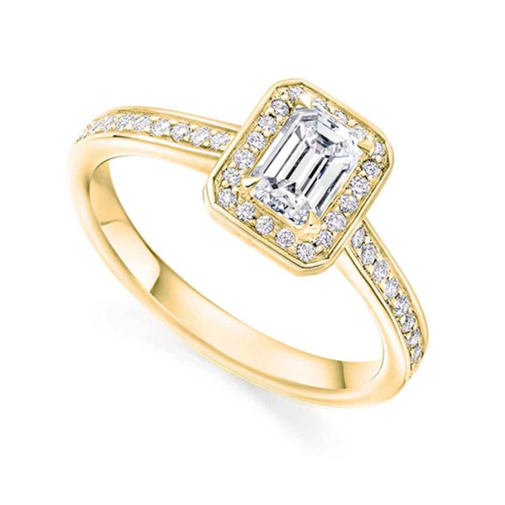 Legacy Inspired Emerald Cut Diamond Halo Ring Side View