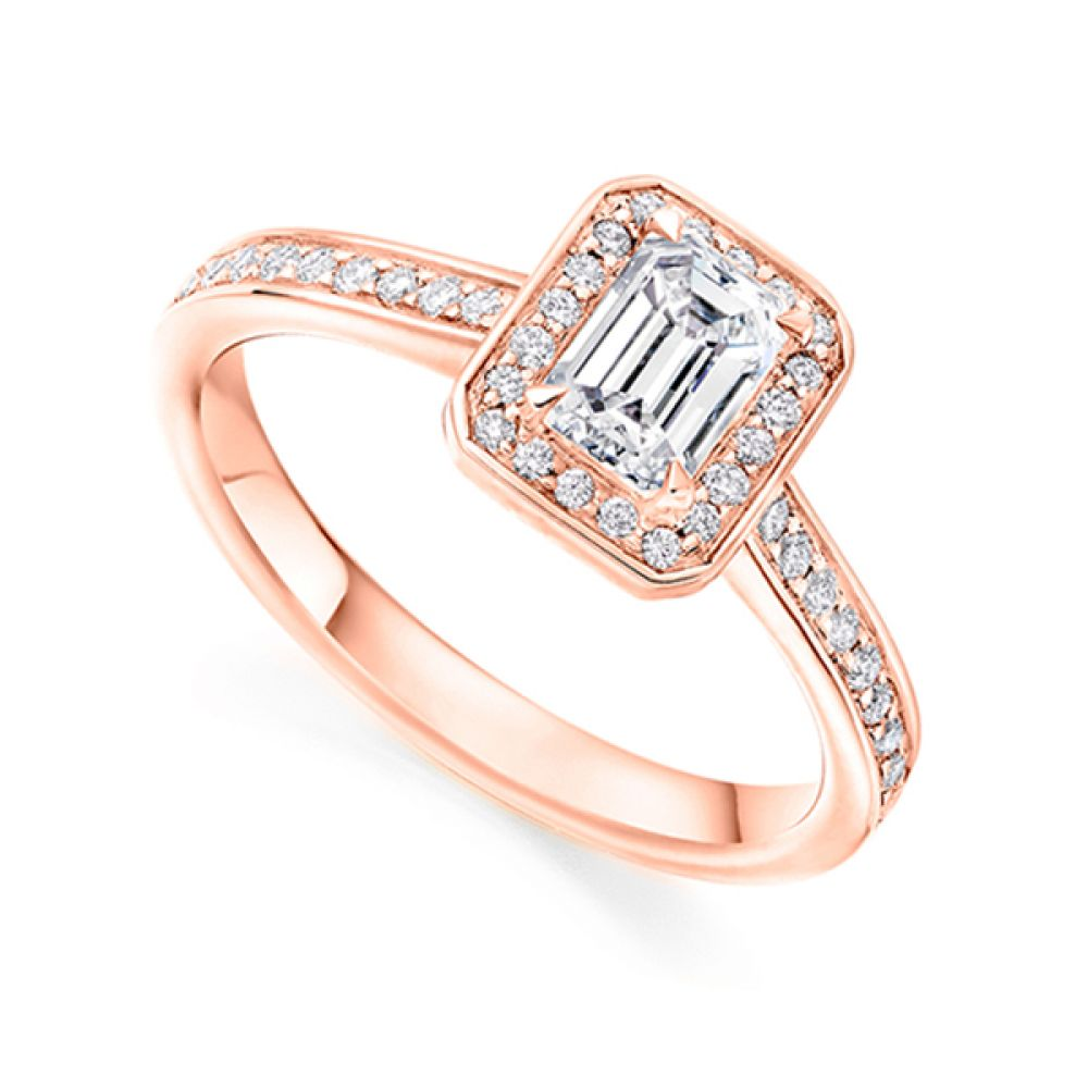 Legacy Inspired Emerald Cut Diamond Halo Ring Close Up Of Setting