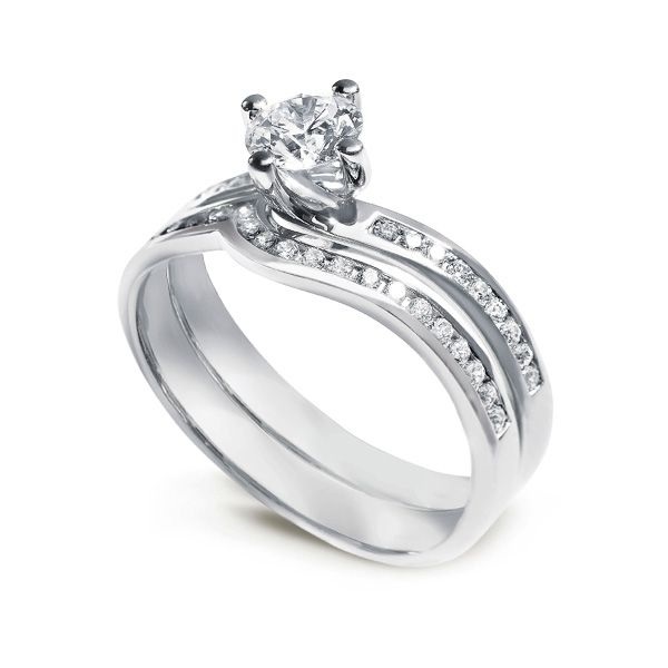 Twist Diamond Engagement Ring with Diamond Shoulders Main Image