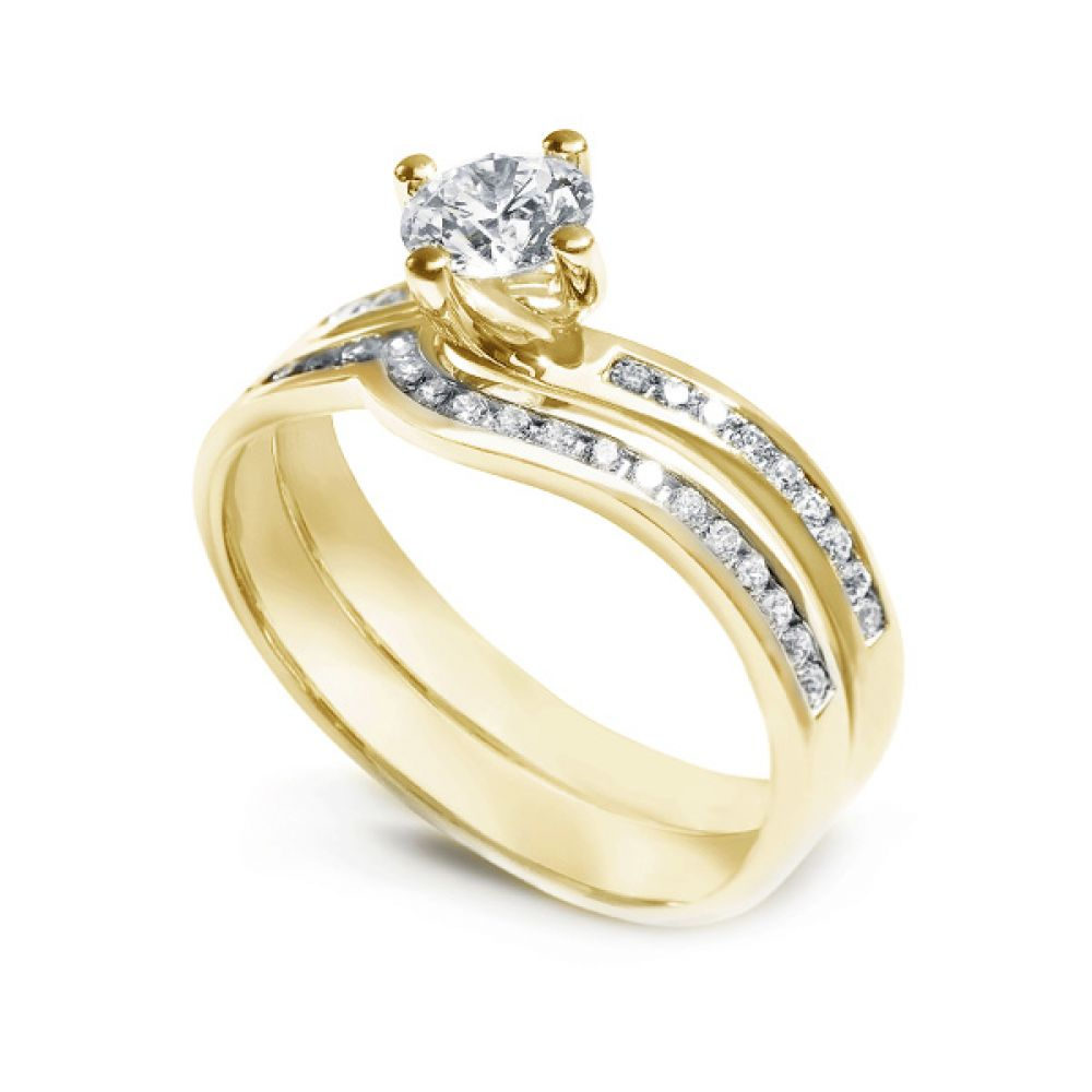 Twist Diamond Engagement Ring with Diamond Shoulders In Yellow Gold