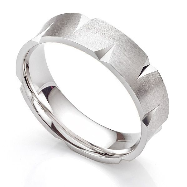 6mm Concave Angled Patterned Wedding Ring Main Image