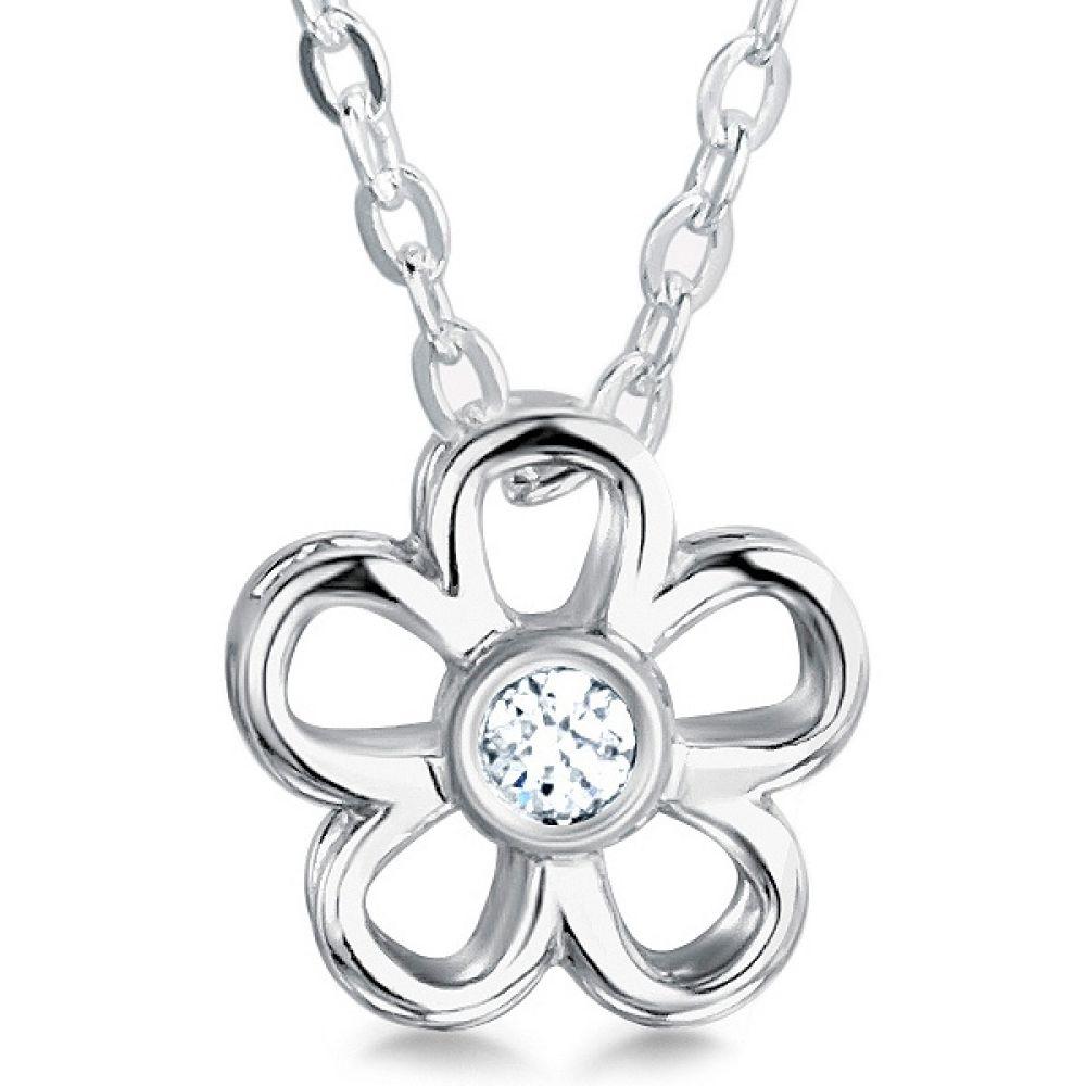 0.10cts Daisy Round Diamond Flower Pendant