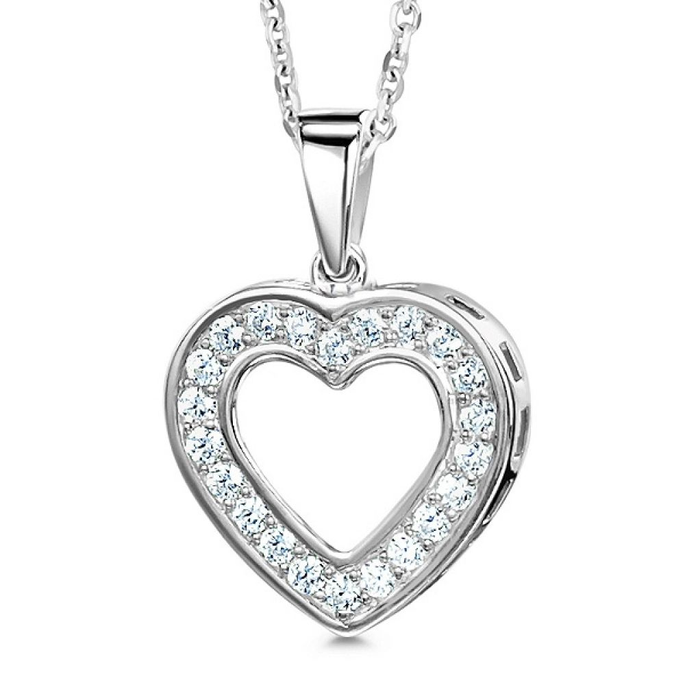 0.25cts Grain Set Heart Shaped Diamond Pendant