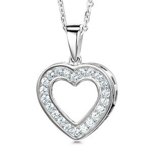 0.25cts Grain Set Heart Shaped Diamond Pendant Main Image