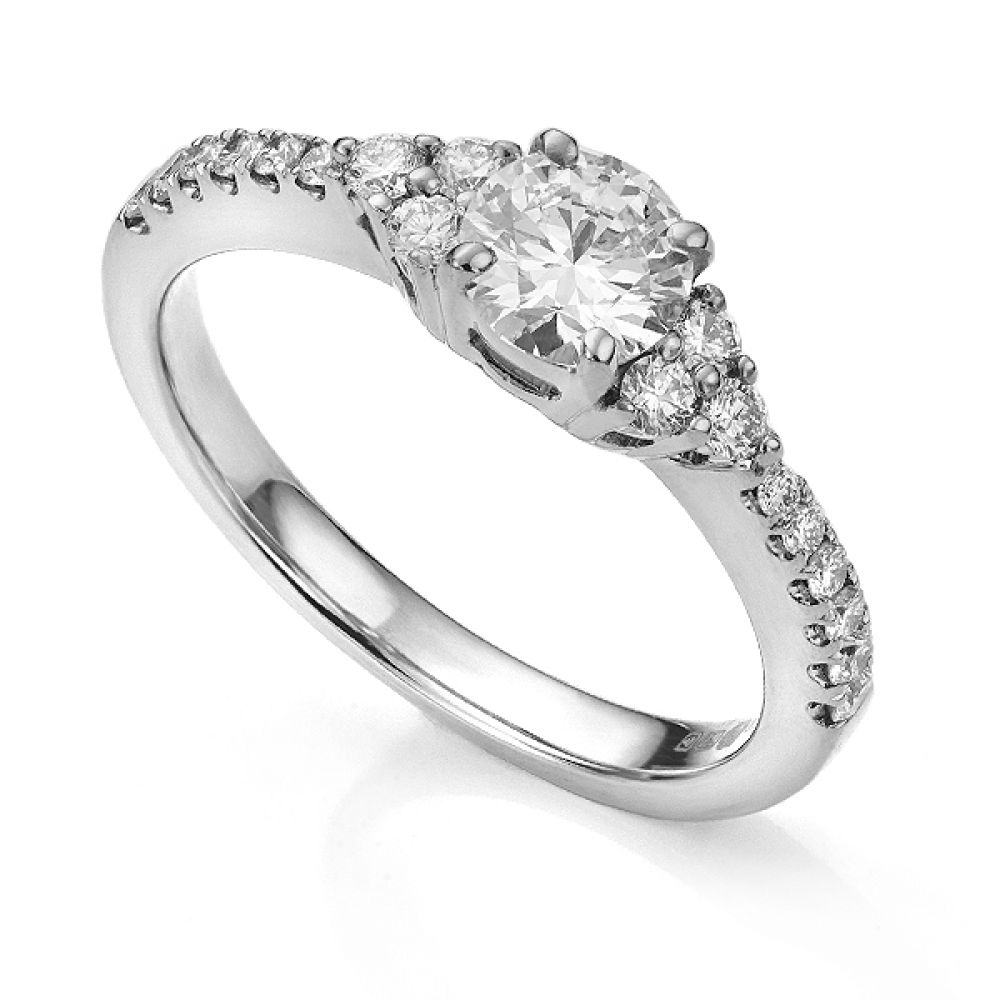 Christie diamond shoulder engagement ring in Platinum