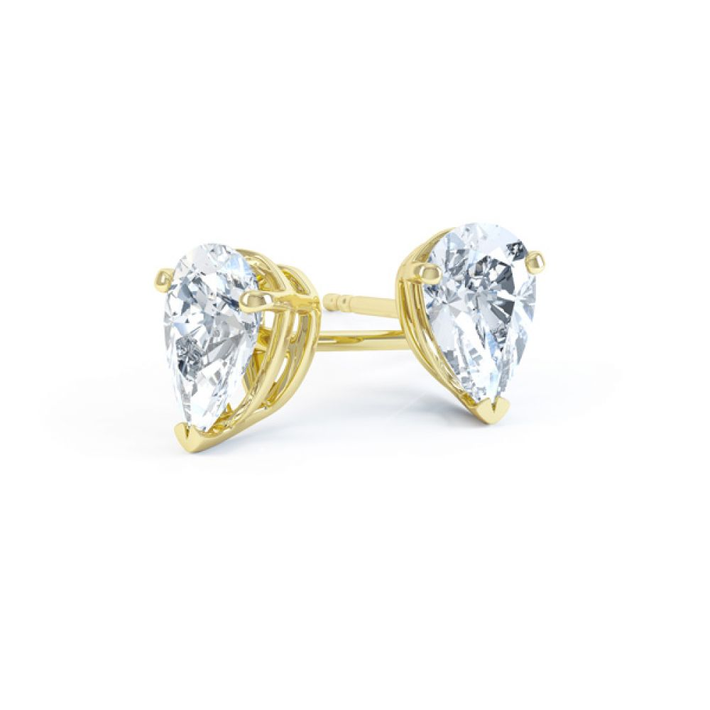 Pear Shaped Diamond Solitaire Earrings In Yellow Gold