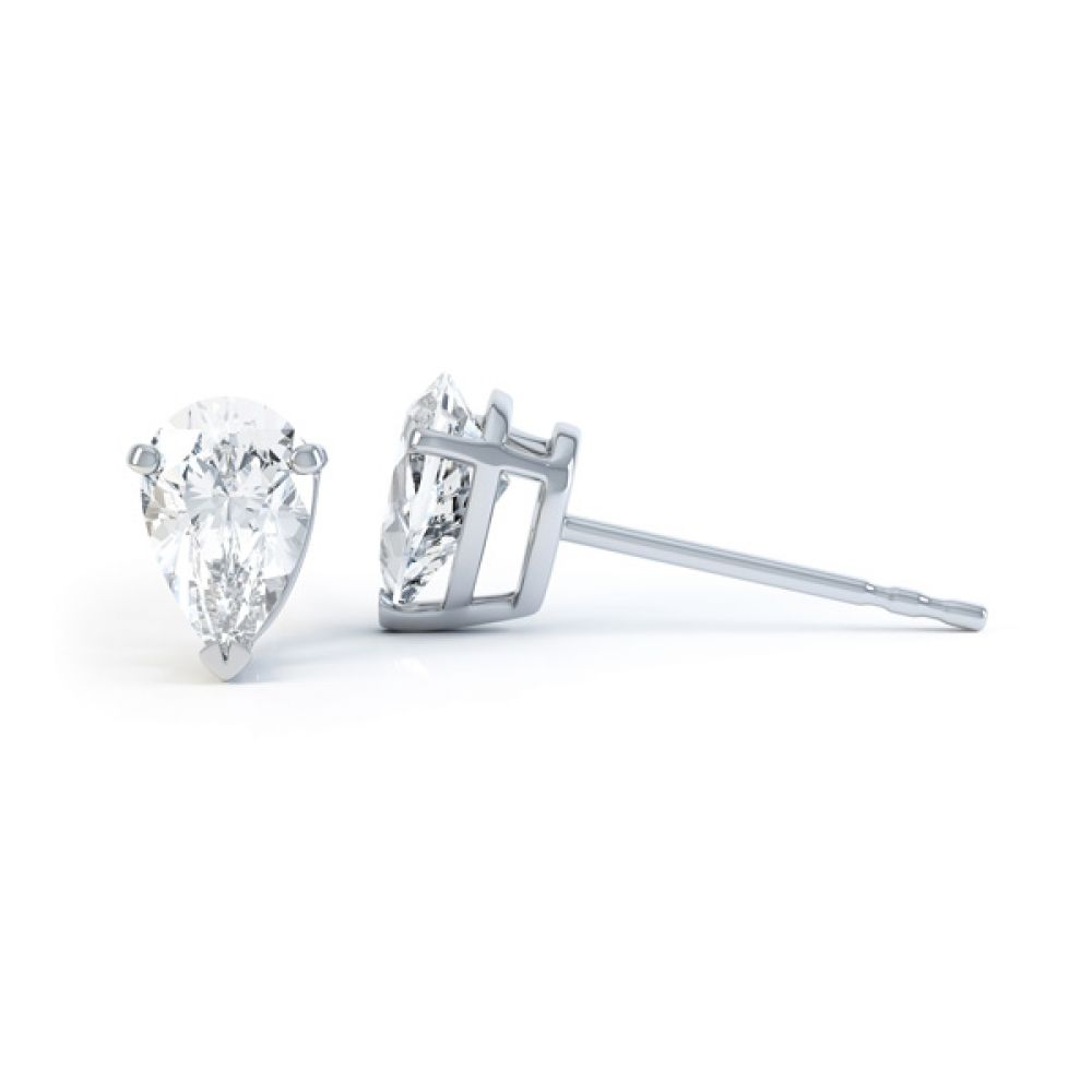Pear Shaped Diamond Solitaire Earrings Side View