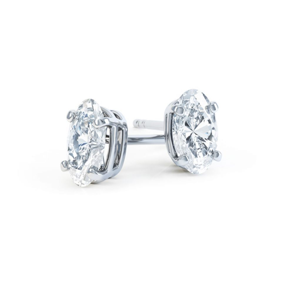 4 Claw Oval Solitaire Diamond Stud Earrings
